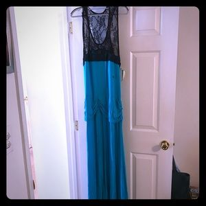 Maxi Dress, Blue w/Black, Sz 2X